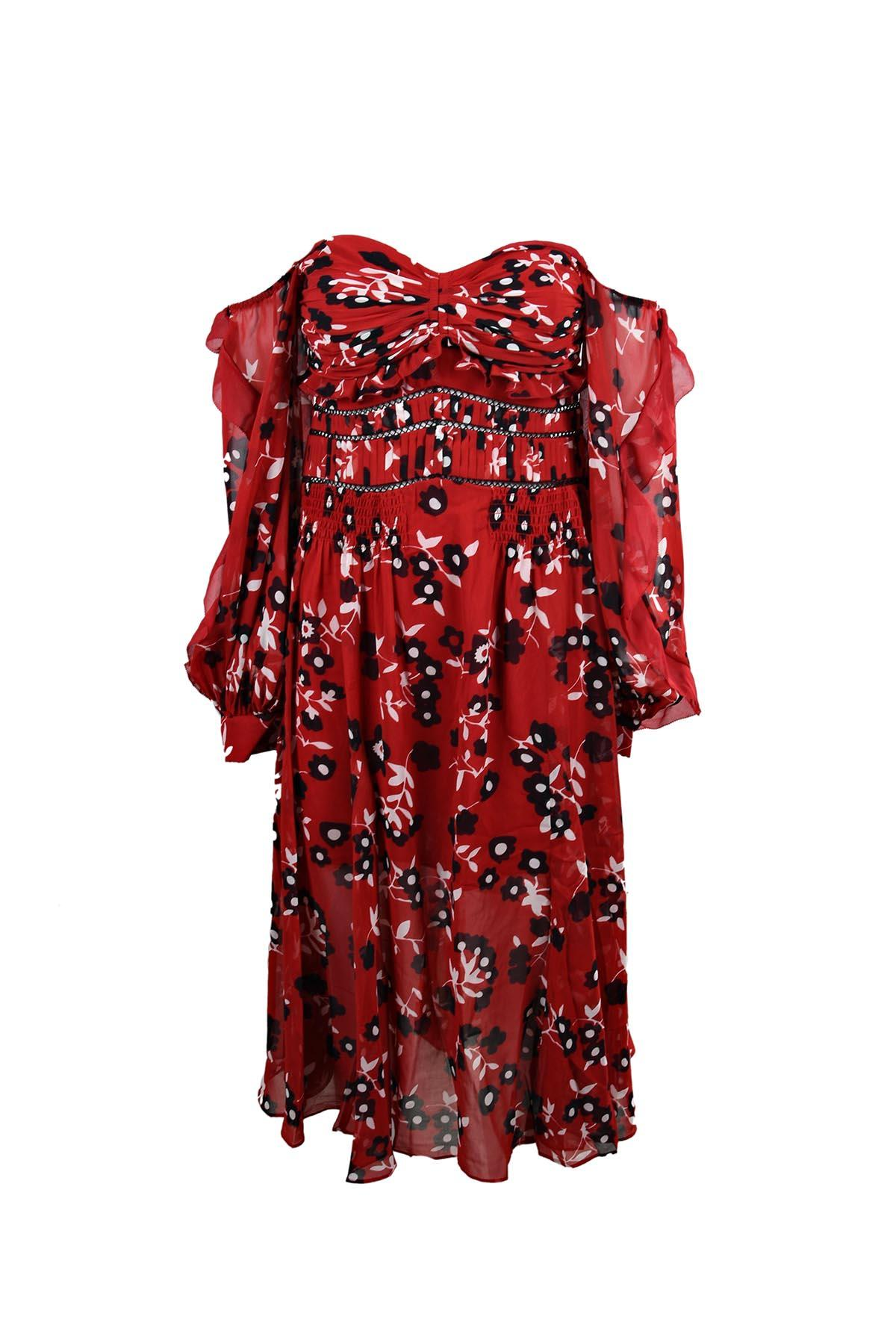 0a230f808eba Self-Portrait Floral-Print Pleated Cold-Shoulder Crepe Mini Dress In Red