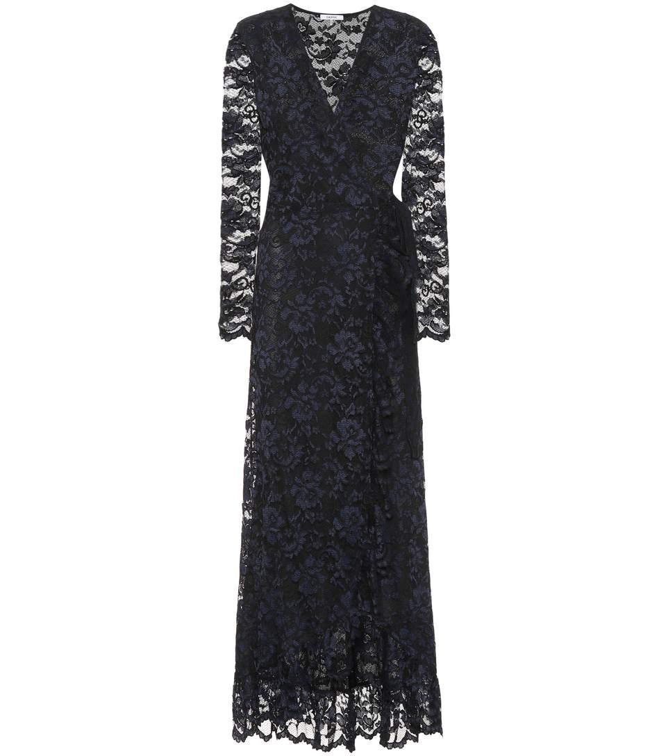 Ganni Woman Lace Dress Black