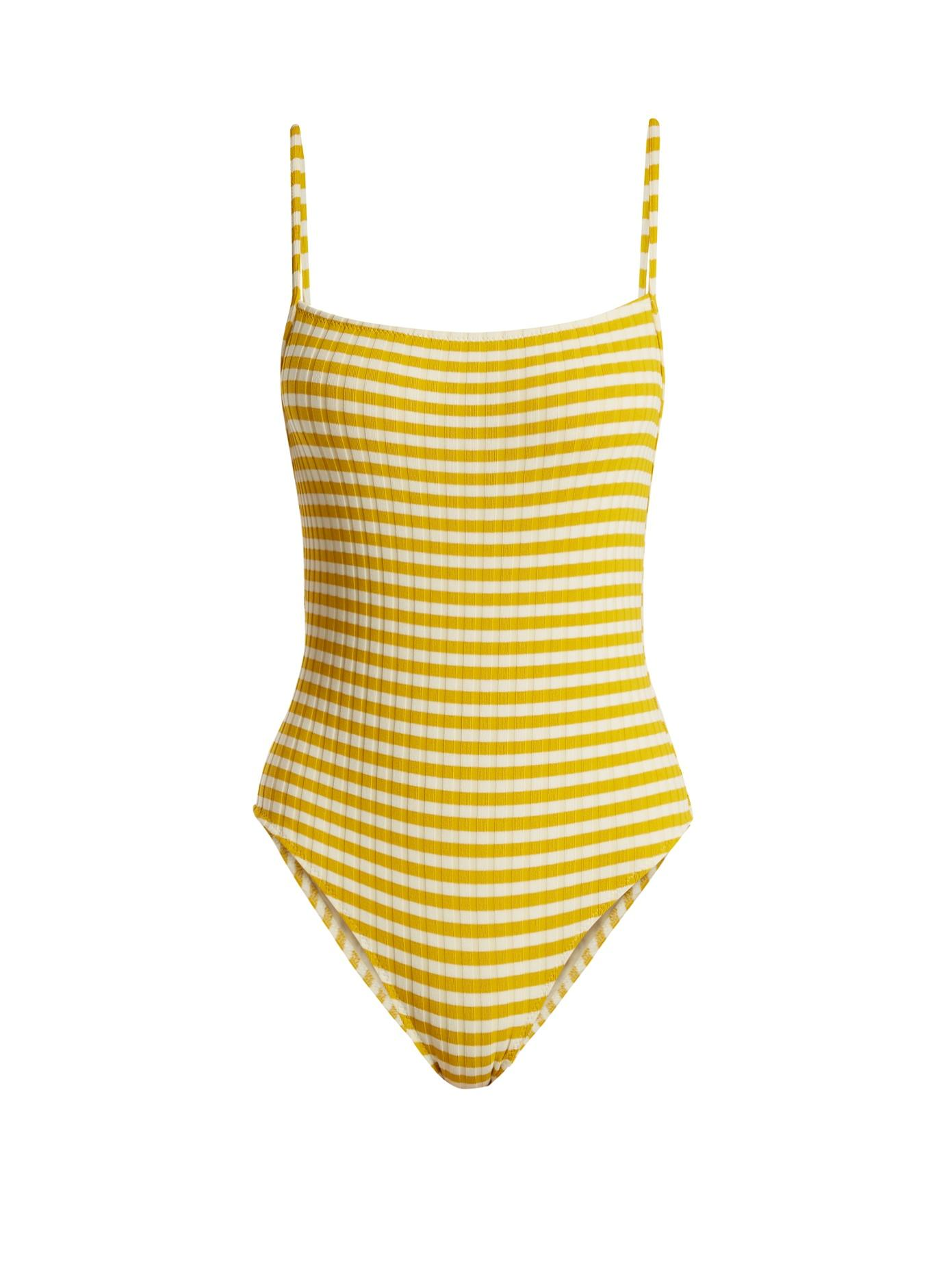 2aa14937a31e8 Solid & Striped The Chelsea Stripe Rib One Piece Swimsuit In Yellow ...