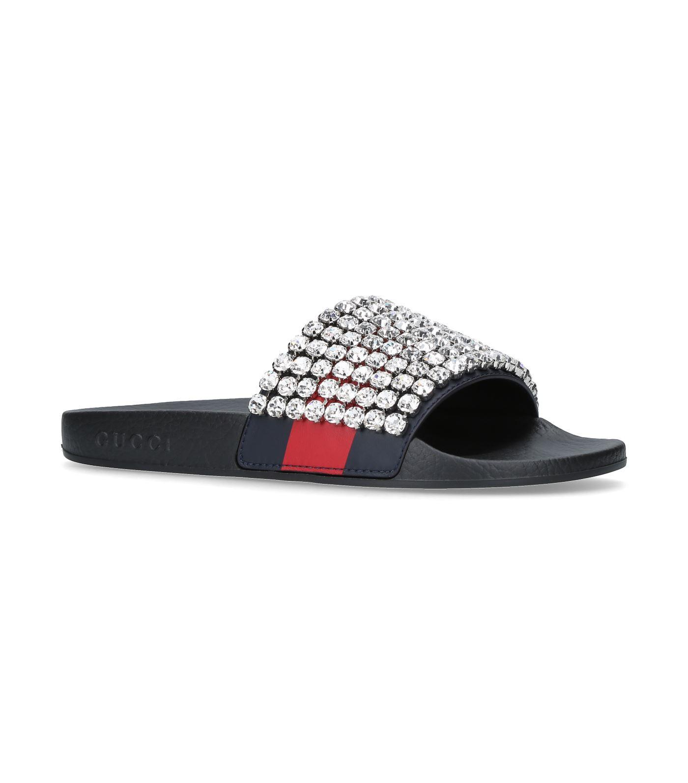 e9e87c7c0cd Gucci Pursuit Crystal-Embellished Leather And Rubber Slides In Black ...