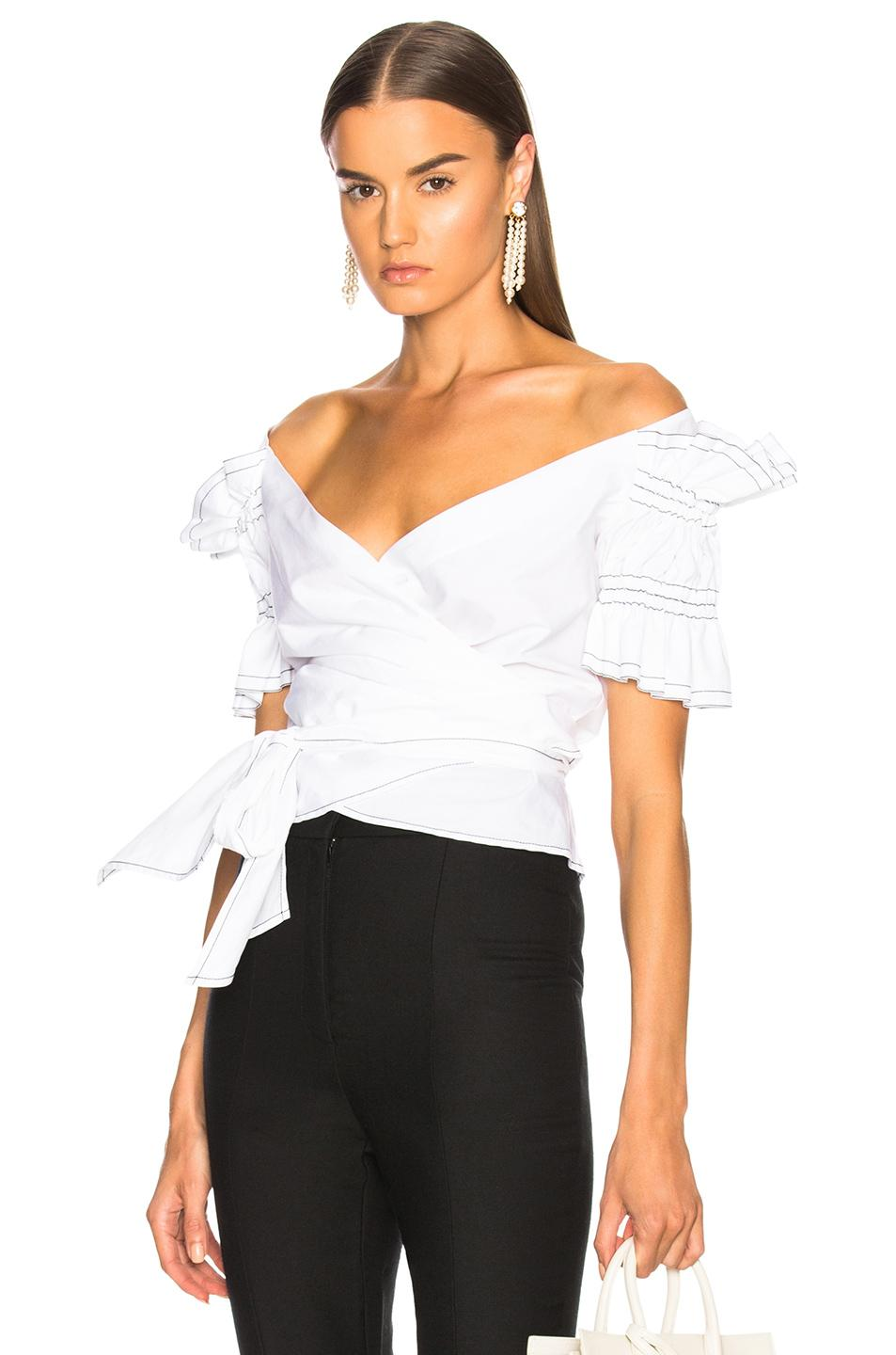 ee1c1662f2d6a Jonathan Simkhai Off-The-Shoulder Ruched-Sleeve Bow Blouse In White ...