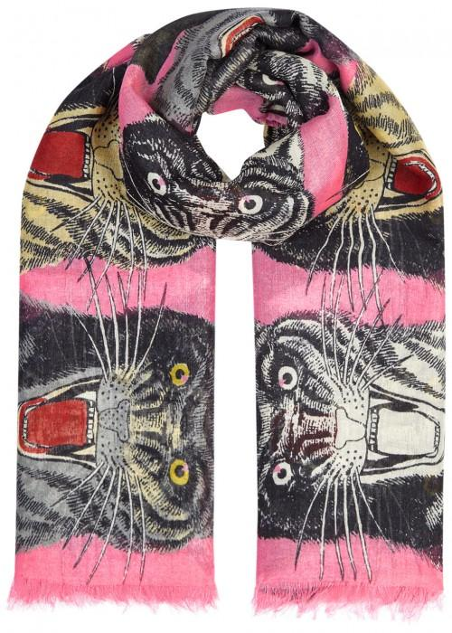 Gucci Tiger Face Printed Cashmere Blend Scarf In Pink