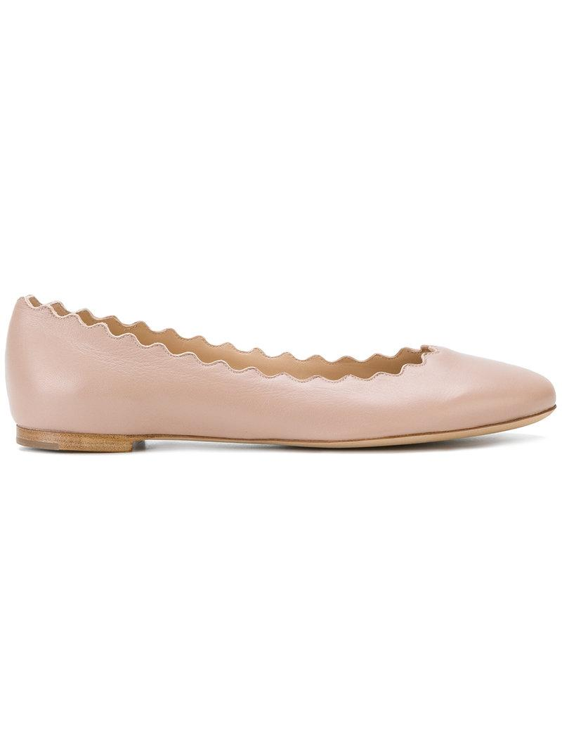 ChloÉ Lauren Scalloped Leather Ballet Flats, Light Pink