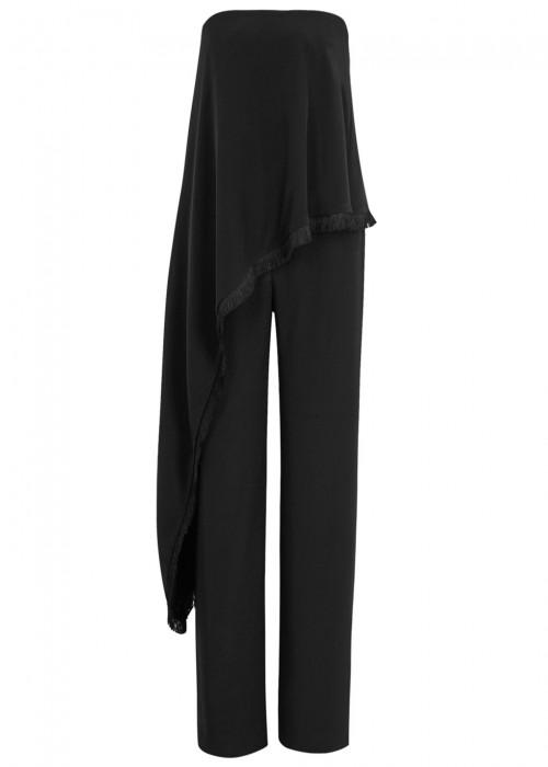 Adam Lippes Woman Strapless Layered Silk-Cady Jumpsuit Black
