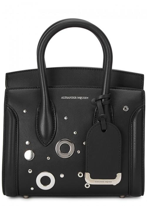 Alexander Mcqueen Heroine 21 Mini Leather Satchel Bag With Hardware Detail, Black