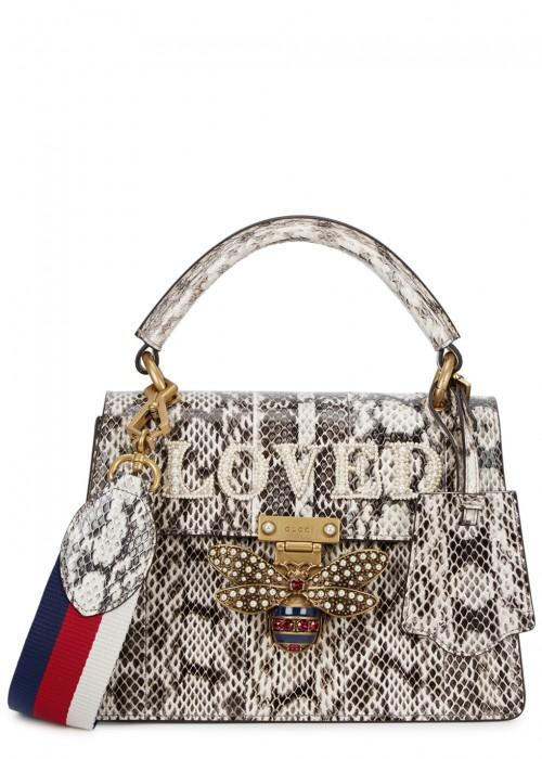Gucci Queen Margaret Embellished Python Tote In Nude