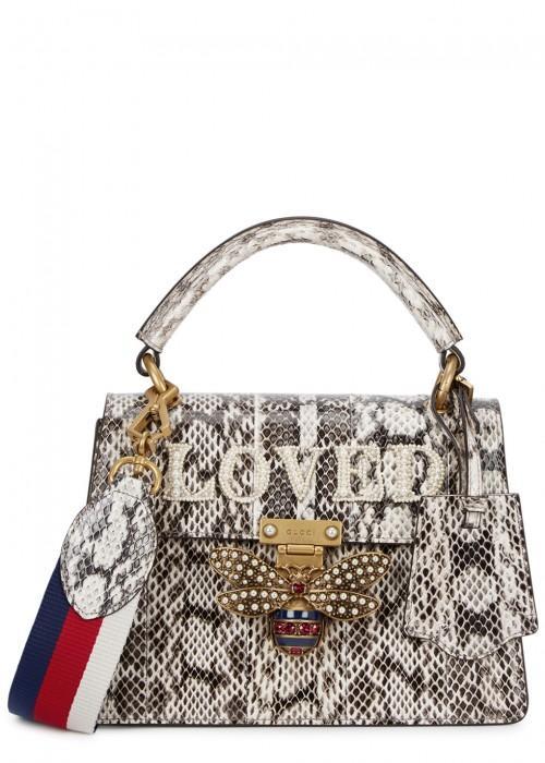 Gucci Queen Margaret Small Snakeskin Top Handle Bag In Nude