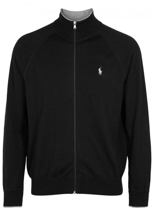 Polo Ralph Lauren Black Zipped Cotton Cardigan