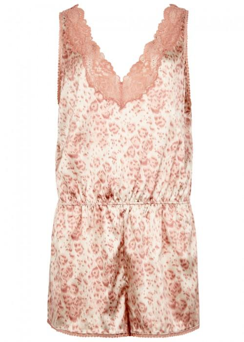 Stella Mccartney Poppy Snooping Printed Satin Playsuit In Pink