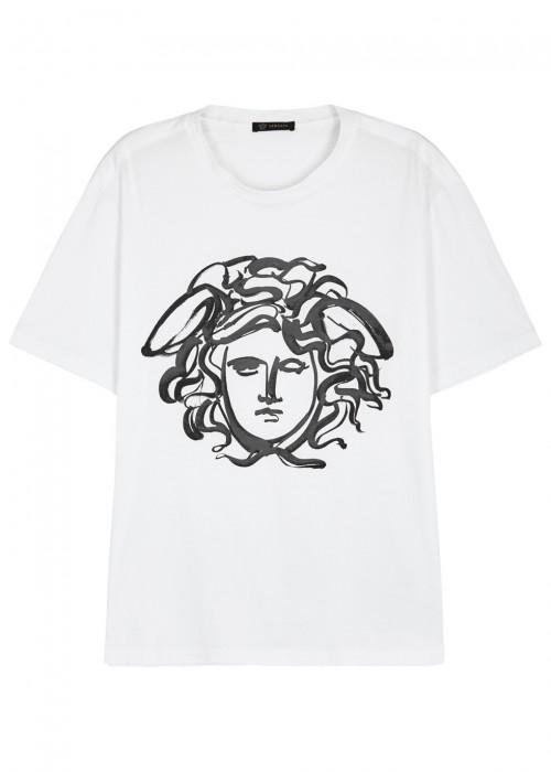 Versace Painted Medusa Cotton T-shirt, White/black