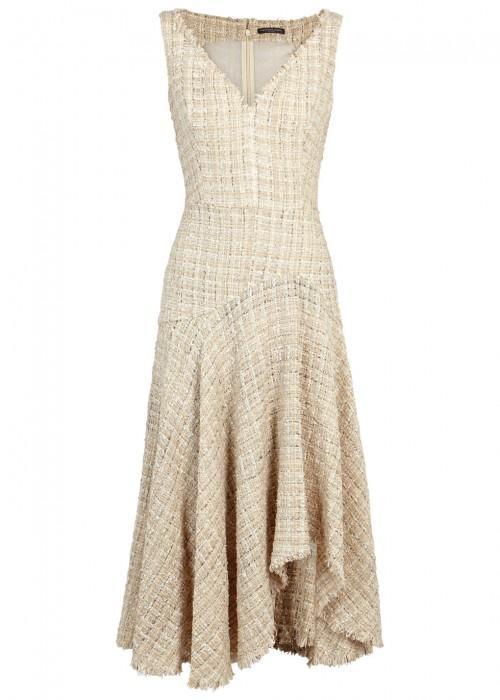 Alexander Mcqueen Metallic Wool-blend Bouclé-tweed Midi Dress In Ivory