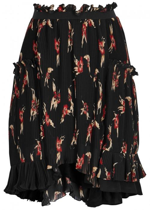 Isabel Marant Watford Floral-Print Pleated Skirt In Black