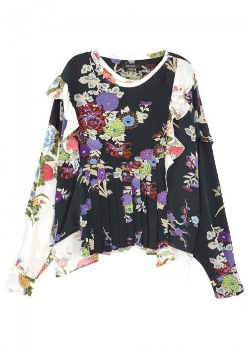 Isabel Marant Inny Pleated Floral-print Silk Crepe De Chine Wrap Blouse In Black,floral,white