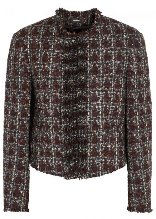 Isabel Marant Woman Fania Cropped Wool-blend BouclÉ-tweed Jacket Merlot In Multicoloured
