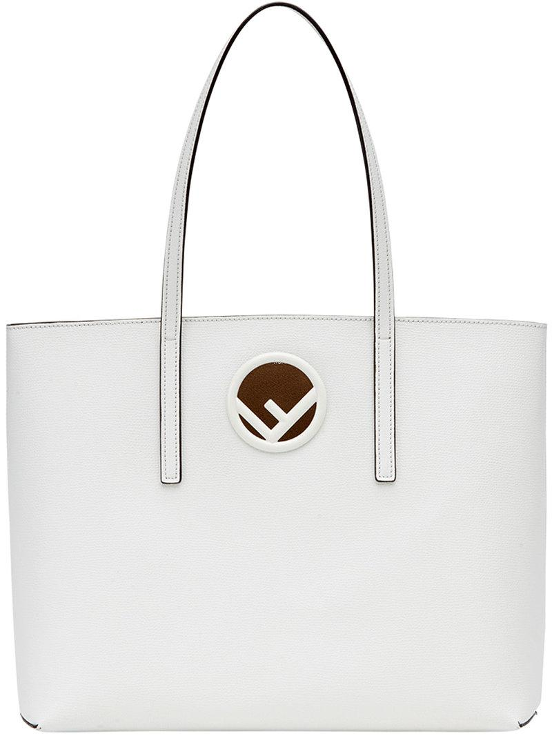 Fendi Logo Shopper Leather Tote Bag - White  ea7262f7297df