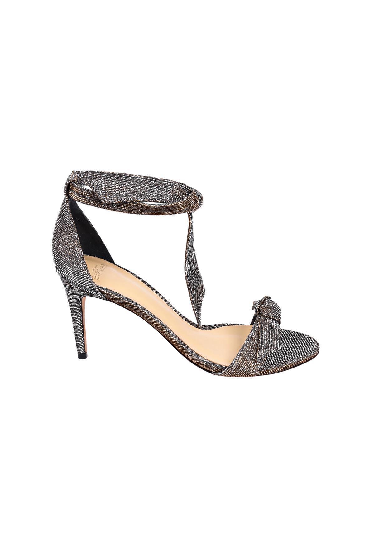 5ee6c3be796 Alexandre Birman Clarita Mid-Heel Metallic Evening Fabric Sandals In Stellar