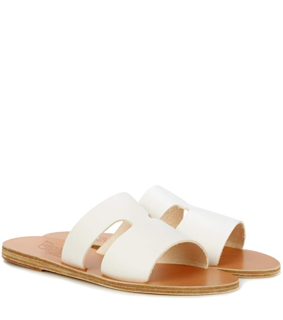 Ancient Greek Sandals Apteros Cutout Leather Slide Sandals In White