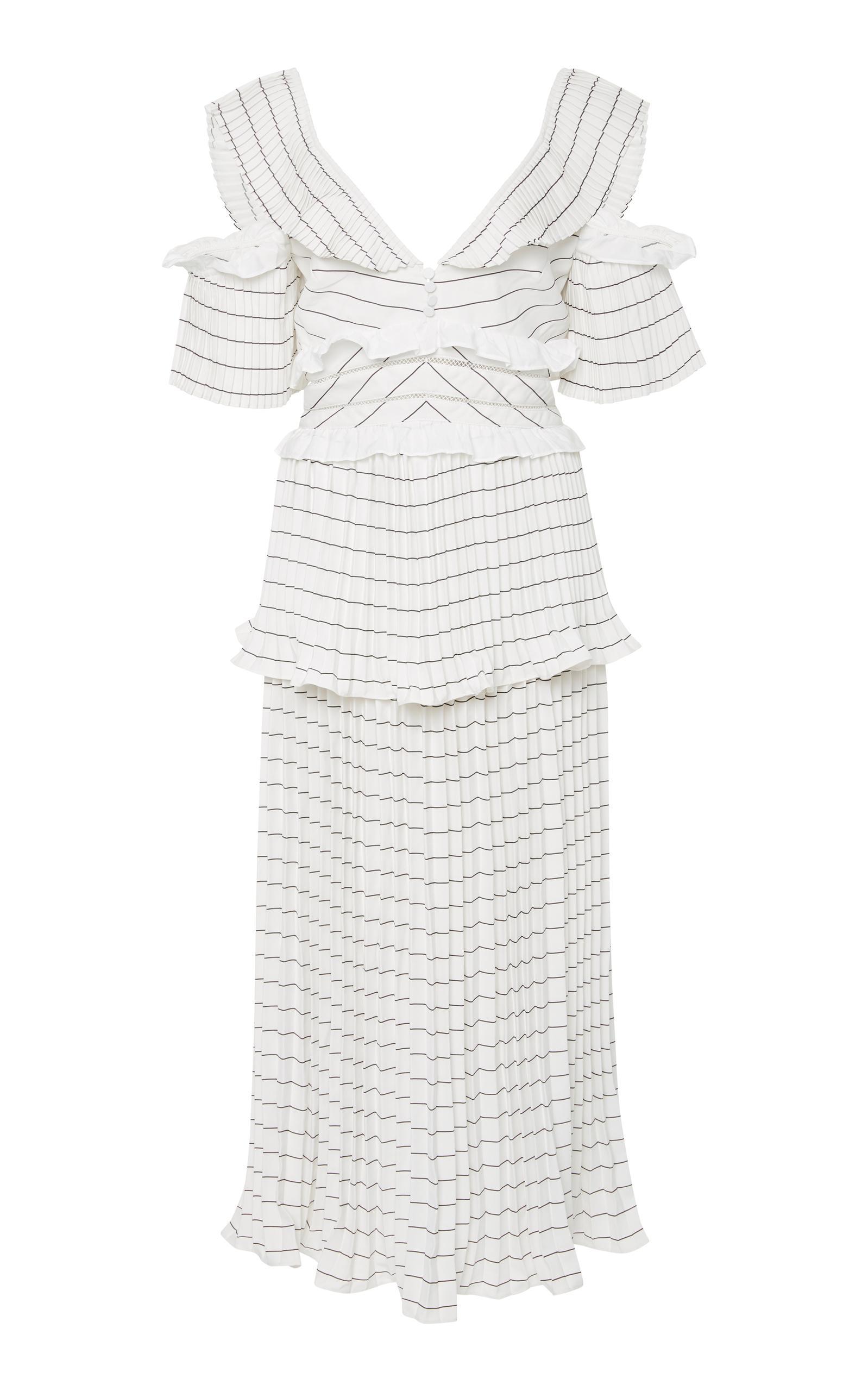 9232e2158fe0 Self-Portrait Monochrome Striped Pleated Midi Cocktail Dress In White