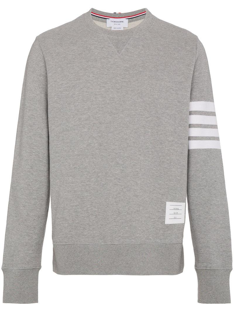 Thom Browne Slim-fit Striped Loopback Cotton-jersey Sweatshirt In Grey