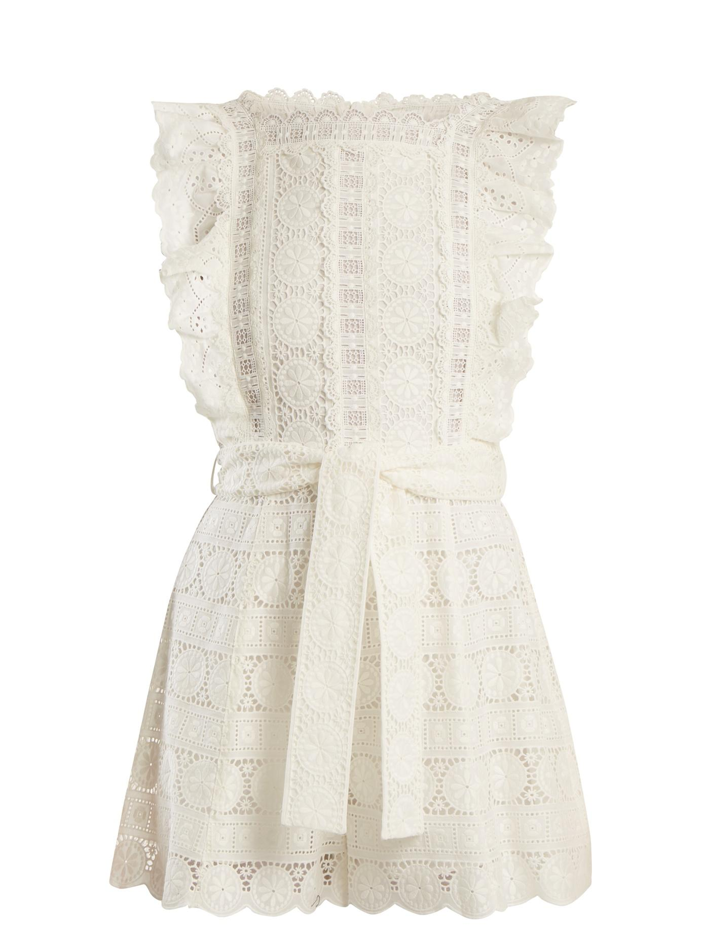 03bab8c486 Zimmermann Kali Daisy Broderie Anglaise Cotton And Lace Playsuit In Ivory
