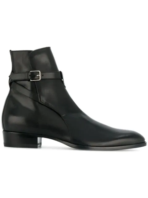 Saint Laurent Wyatt Ankle Boots In Smooth Calfskin In Black
