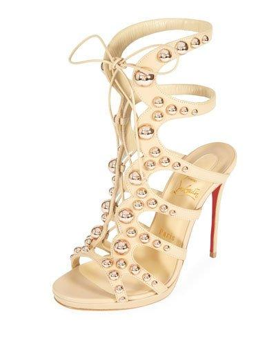 5fbe89002577 Christian Louboutin Amazoubille 120Mm Napa Gladiator Red Sole Sandal In  Neutral