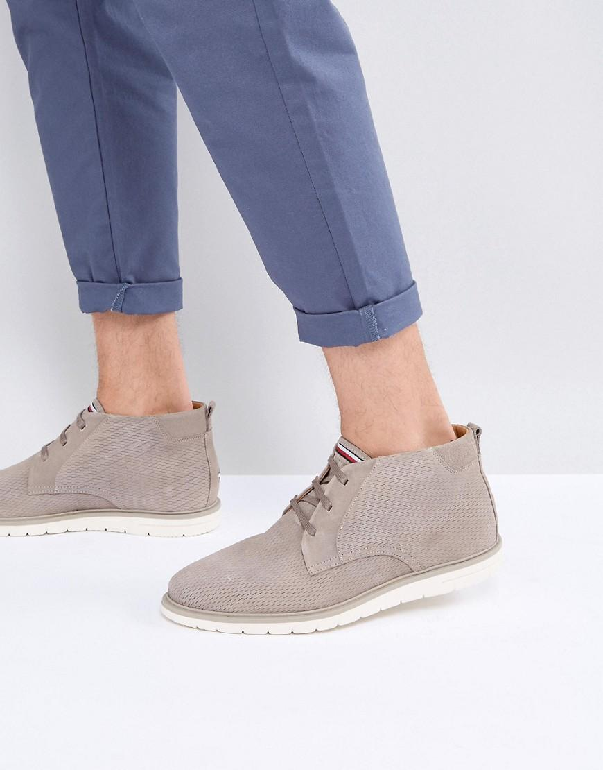 0fe16018473f9 Tommy Hilfiger Joseph Perforated Suede Desert Boots In Stone - Stone ...