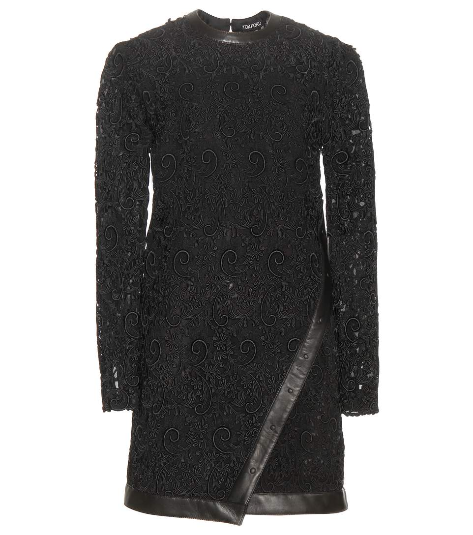Tom Ford Leather-trimmed Guipure Lace Mini Dress In Black