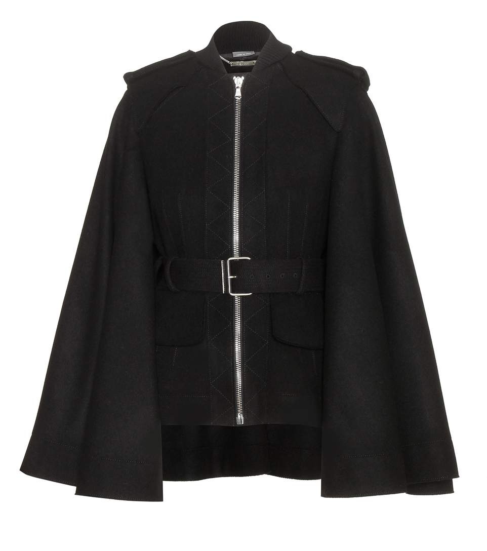 Alexander Mcqueen Wool Jacket With Flared Sleeves In Blk