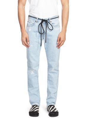 d1b113c2 Off-White Slim-Fit Embroidered Distressed Denim Jeans - Light Denim In Blue