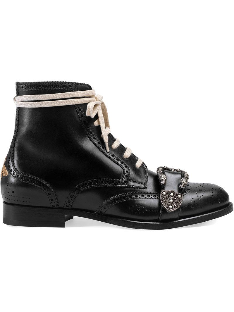 06c065d7479231 Gucci Dionysus Buckle-Strap Leather Wingtip Boots - Black