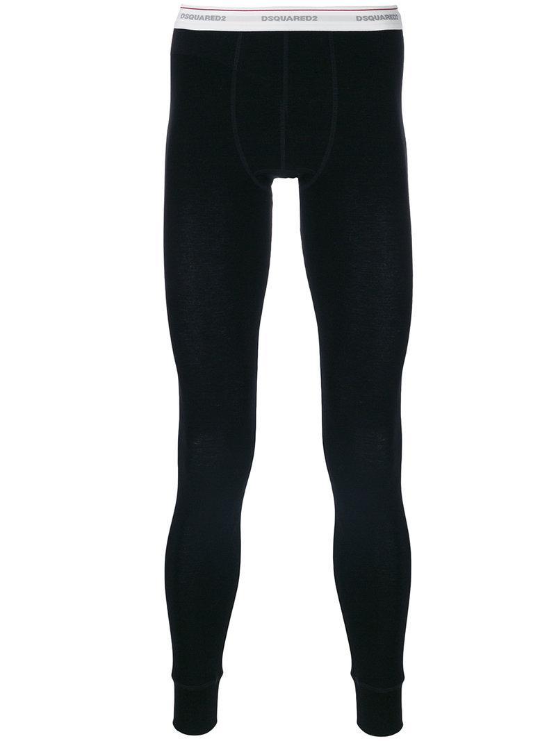 Dsquared2 Branded Thermal Leggings In Black