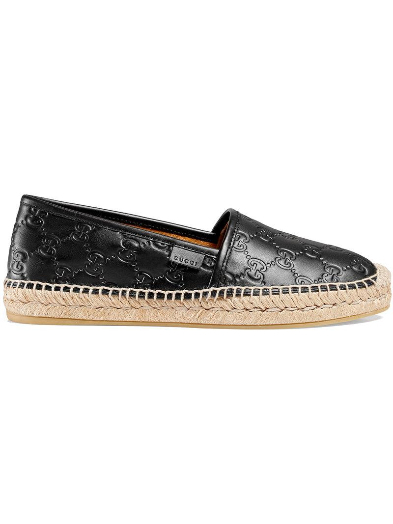 b81e52456cc Gucci Women s Pilar Leather Espadrille Flats In Black