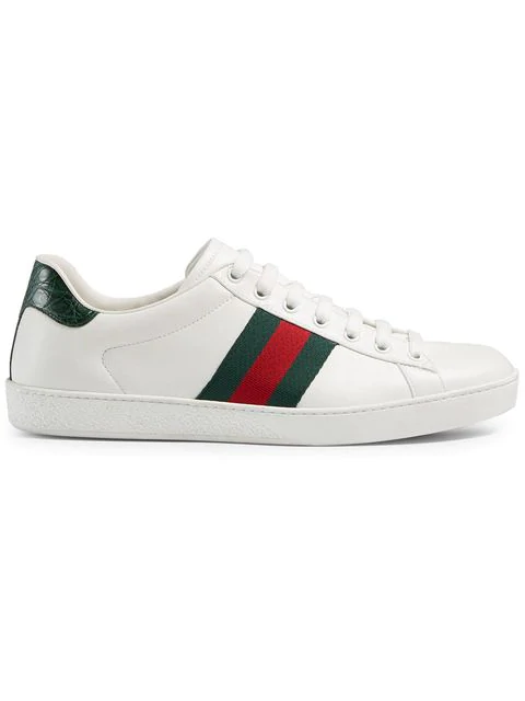 Gucci 'ace' Croc Embossed Counter Leather Sneakers In White