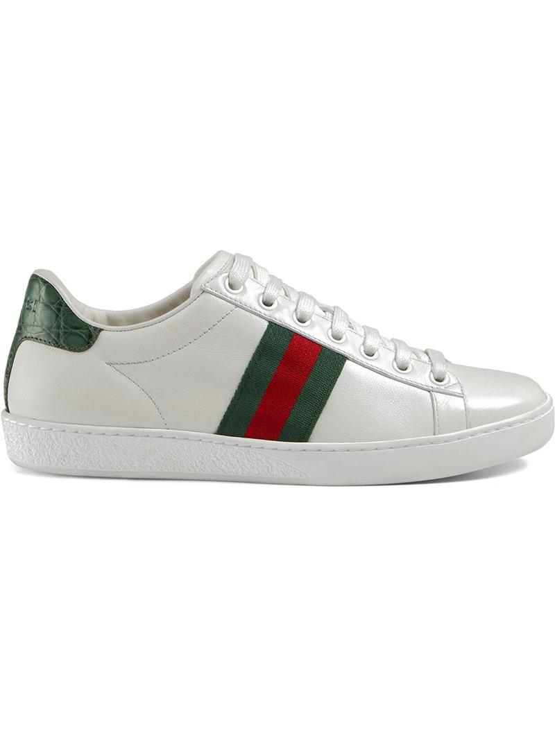 Gucci New Ace Leather And Crocodile Trainers In White