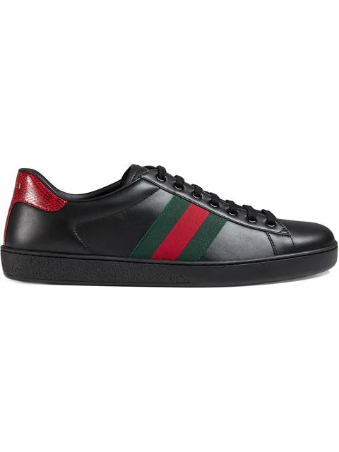 Gucci New Ace Web Leather Low-top Trainers In Nero