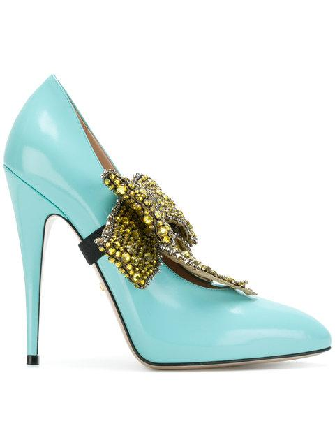 Gucci Elaisa Removable Crystal Bow & Leather Point Toe Pumps In Blue