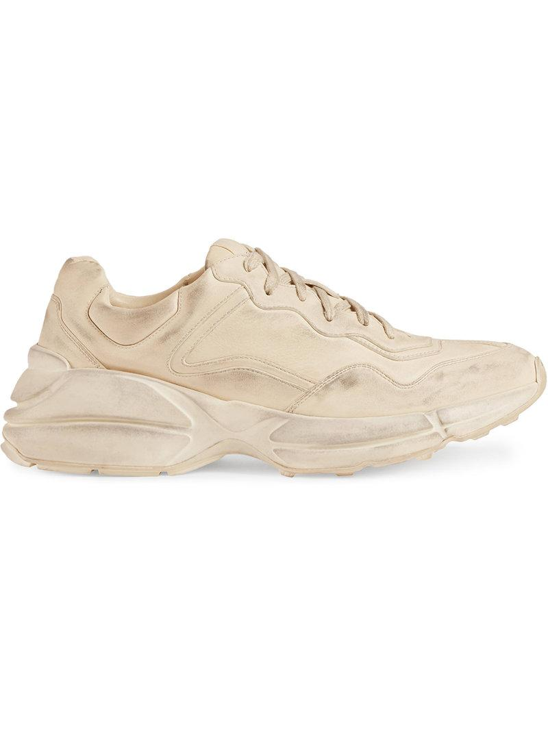 Gucci Rhyton Worn-effect Low-top Leather Trainers In Neutrals