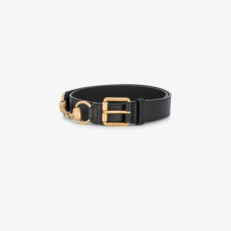 2ee6d8273f8 Gucci Leather Square-Buckle Horsebit Belt In Black