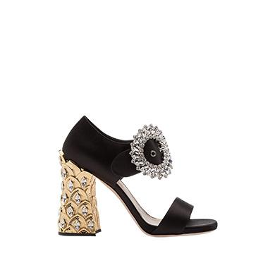 bd89b6481f3 Miu Miu Satin Crystal-Buckle Pineapple-Heel Sandal In Black
