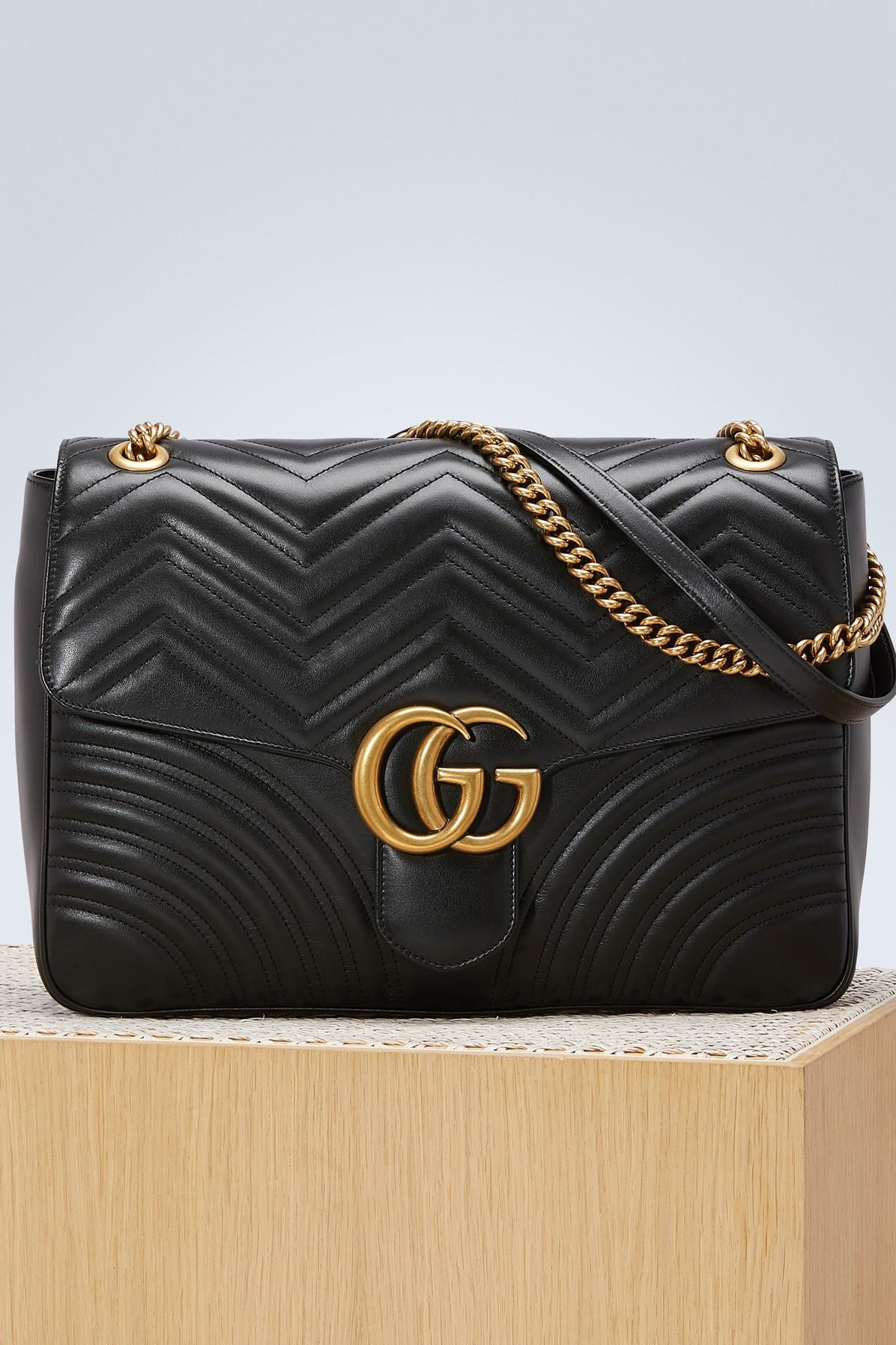 cd85d2283d9 Gucci Gg Large Marmont 2.0 Matelasse Leather Shoulder Bag - Black ...