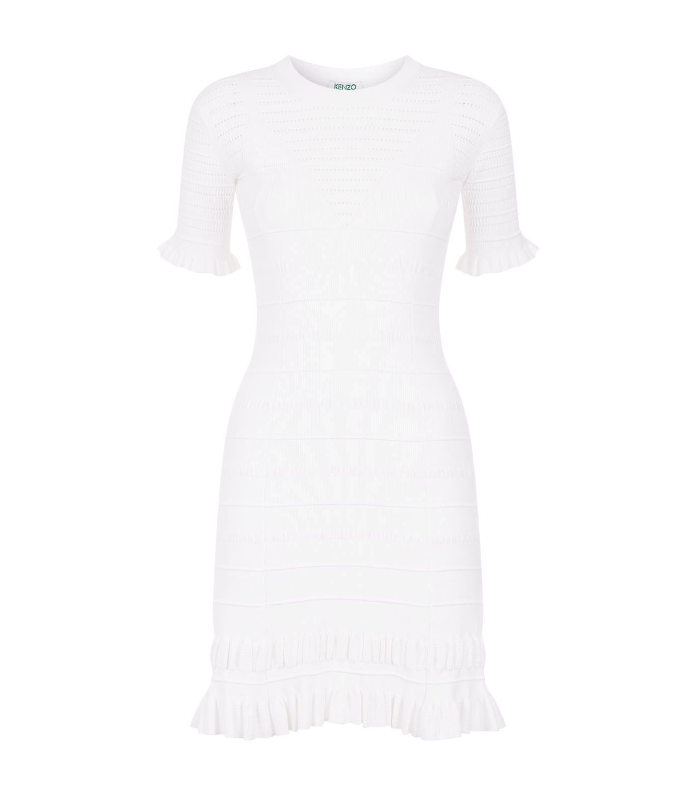 41c0c82ece40e Kenzo Short-Sleeve High-Neck Knit Dress With Flared Hem In White ...