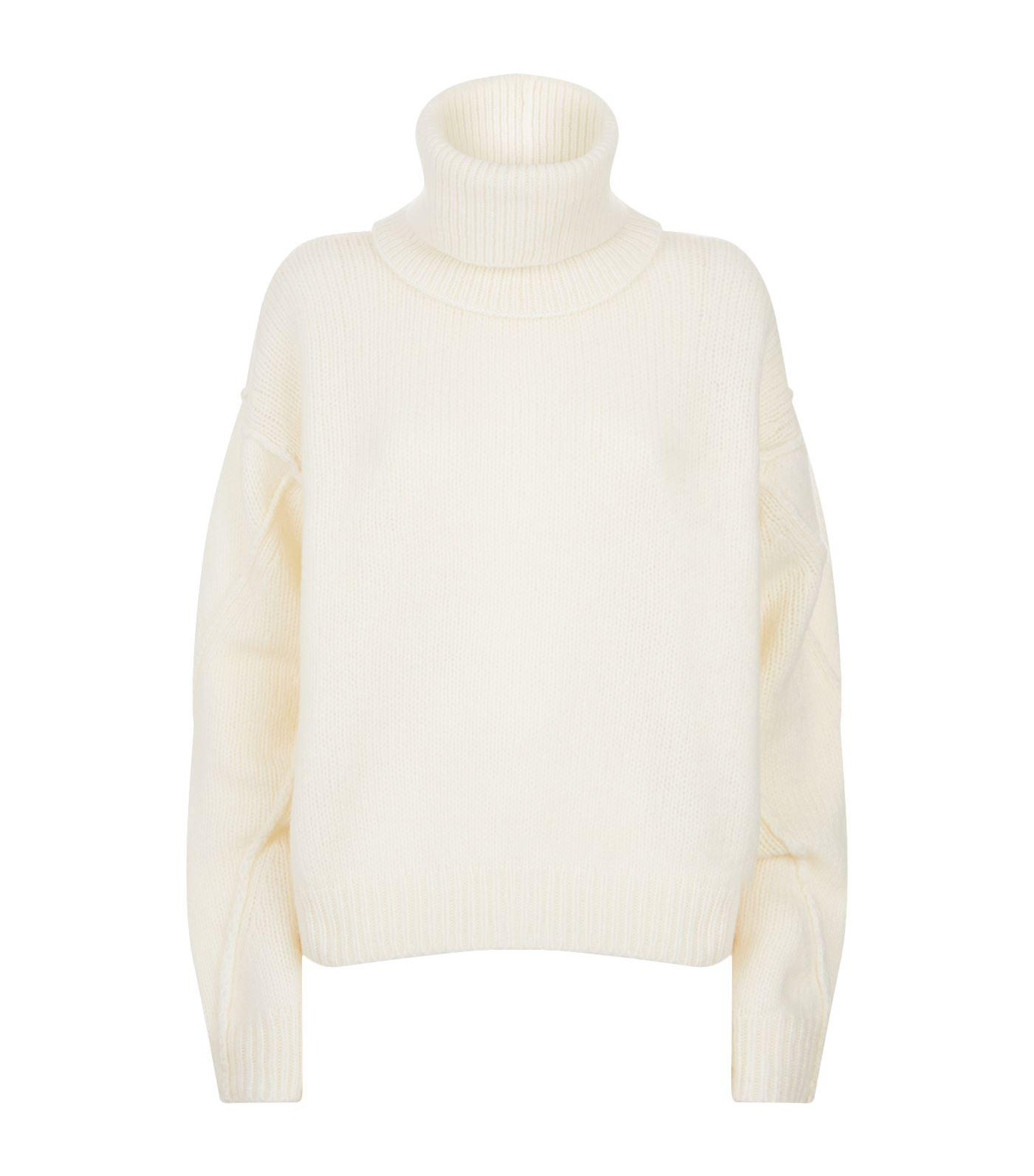 4983ce46c6 Tory Burch Eva Convertible Oversized Wool-Blend Turtleneck Sweater In New  Ivory