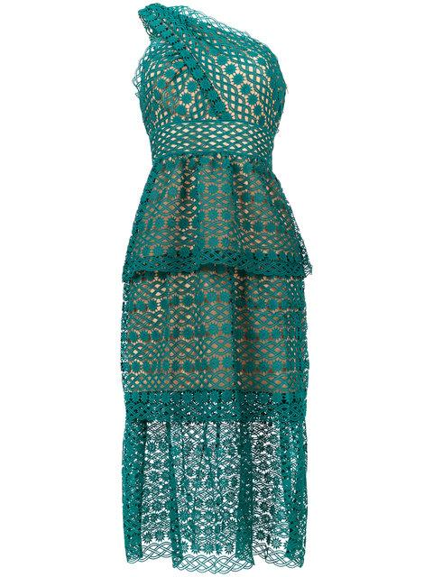 d8f18ccb316b Self-Portrait One-Shoulder Floral-Chain Lace Guipure Midi Dress In Green