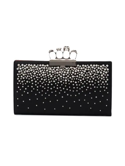 Alexander Mcqueen Four-ring Knuckle Crystal-studded Leather Clutch Bag In 1000 Black