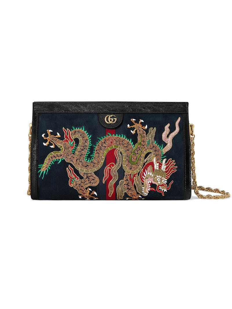 95adc1e0db8 Gucci Ophidia Embroidered Medium Shoulder Bag In Blue Suede In Midnight Blue