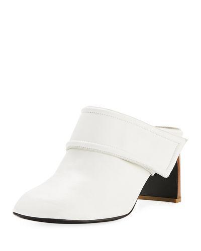 e49f51e02a680 Rag & Bone Elliot Mid-Heel Leather Mules In White   ModeSens
