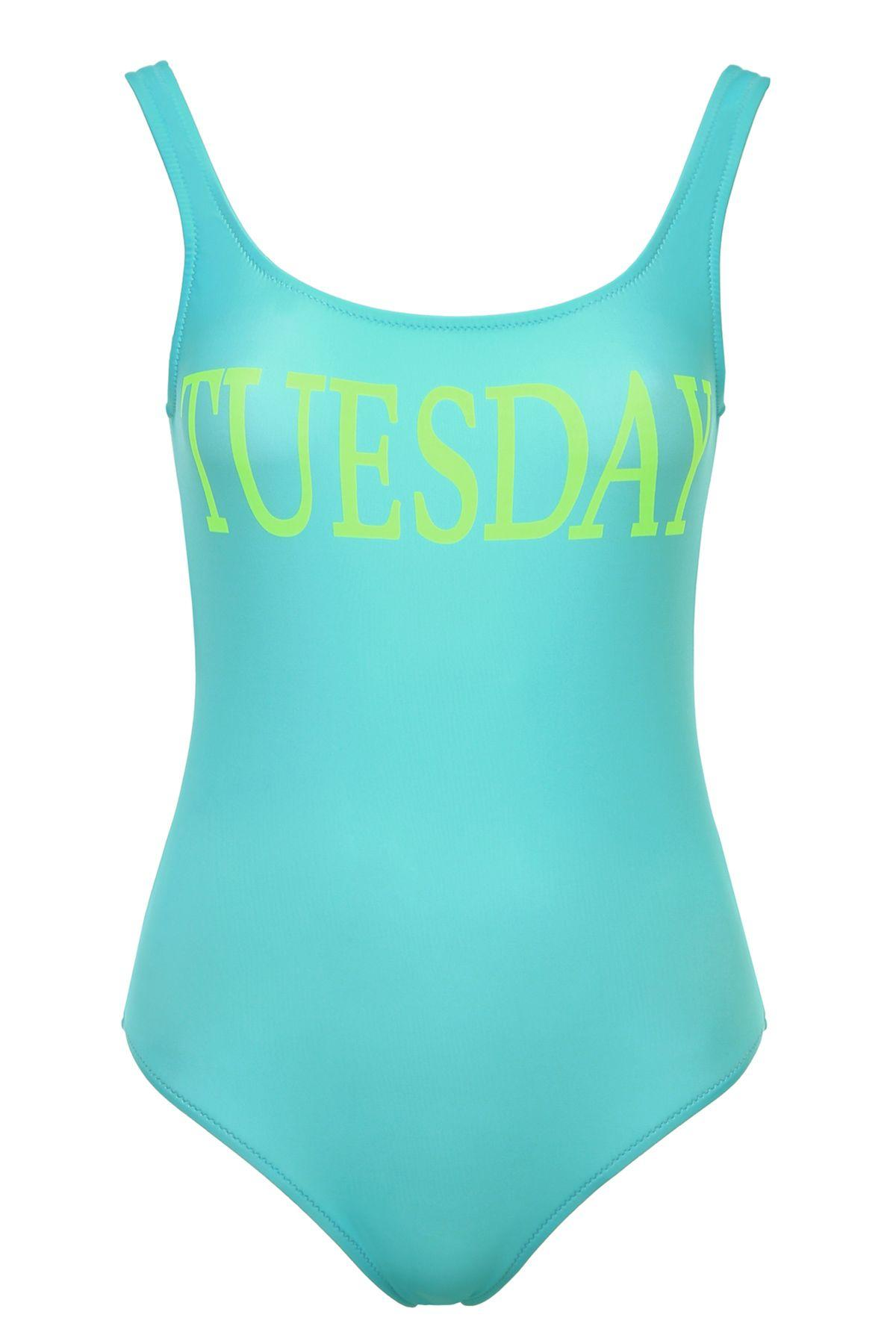 48c2557c5f Alberta Ferretti Swimsuit One-Piece Swimsuit With Tuesday Rainbow Week  Print In Blue