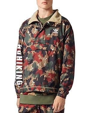 7ef7a328646a1 Adidas Originals X Pharrell Williams Hu Hiking Half Zip Windbreaker In Camo Print  Cy7871 - Red