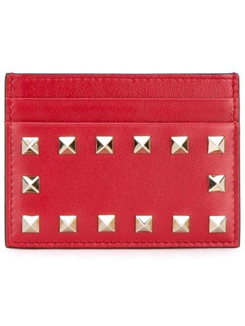 Valentino Garavani Rockstud Embellished Leather Card Holder In Red
